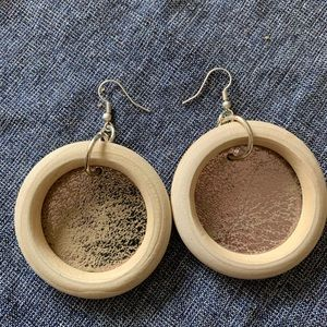 Jewelry - Wood and Leather Hoop Earrings